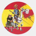 DON QUIJOTE&SANCHO - Windmühle Spanisch-Flagge Runde Aufkleber