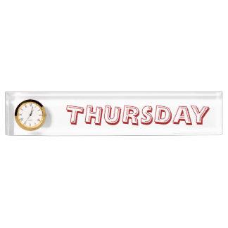 Donnerstags-Schreibtisch-Nummernschild mit Uhr Schreibtischplakette