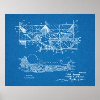 Doppeldecker-Flugzeug-Patent-Kunst 1920, die Druck Poster