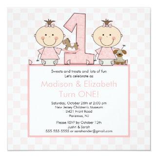 Doppelmädchen-Strichmännchen paart Quadratische 13,3 Cm Einladungskarte