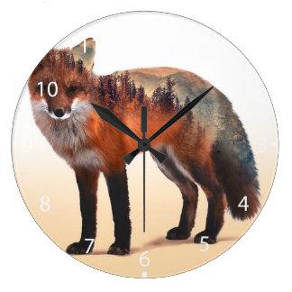 Doppelte Belichtung Fox - Fuchskunst - roter Fuchs Große Wanduhr