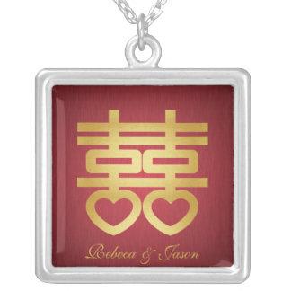 Doppelte Glückhalskette Halskette Mit Quadratischem Anhänger