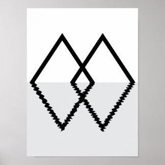 Doppelter Diamant-minimaler Druck Poster