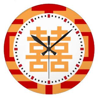 Doppeltes Glück-chinesisches Rot und Gold Uhren