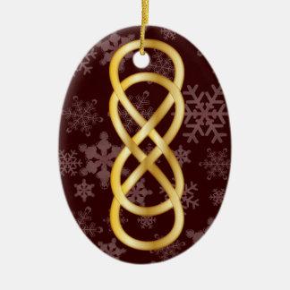 Doppeltes Unendlichkeits-Gold, Schneeflocken, auf Keramik Ornament