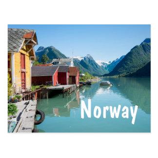 Dorf und ein Fjord in der Norwegen-Textpostkarte Postkarte