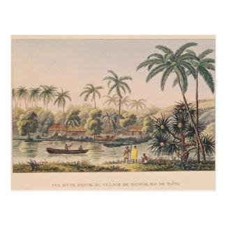 Dorf von Matavae, Tahiti Postkarte