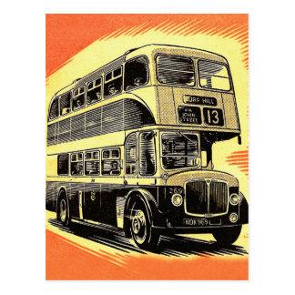 Doubledecker-Bus-Zug BRITISCHES Vintages Retro Postkarte