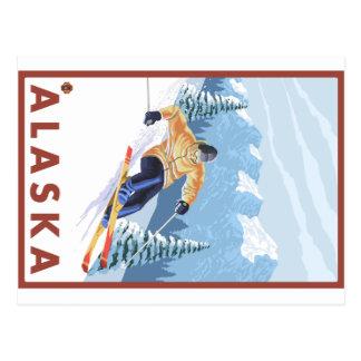 Downhhill Schnee-Skifahrer - Alaska Postkarte