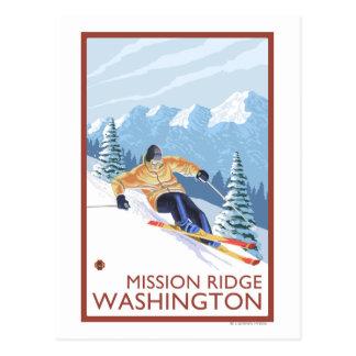 Downhhill Schnee-Skifahrer - Auftrag Ridge, Postkarte