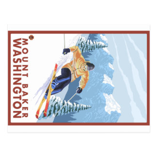 Downhhill Schnee-Skifahrer - Berg-Bäcker, Postkarte