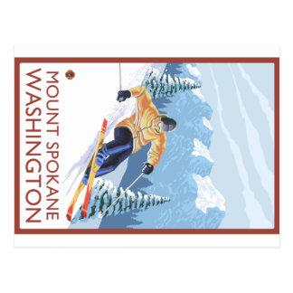 Downhhill Schnee-Skifahrer - Berg Spokane, Postkarte