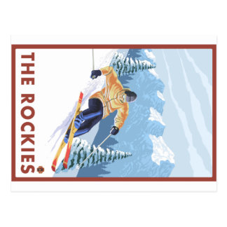 Downhhill Schnee-Skifahrer - die Rockies Postkarte