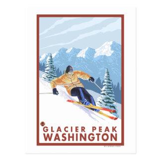 Downhhill Schnee-Skifahrer - Gletscher-Spitze, Postkarte