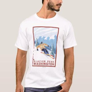Downhhill Schnee-Skifahrer - Gletscher-Spitze, T-Shirt