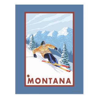 Downhhill Schnee-Skifahrer - Montana Postkarte