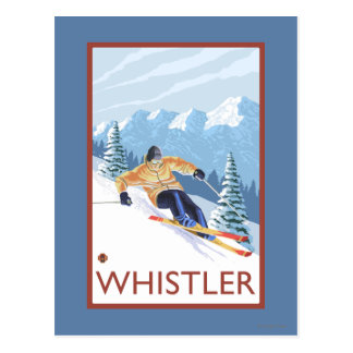 Downhhill Schnee-Skifahrer - Pfeifer, BC Kanada Postkarte