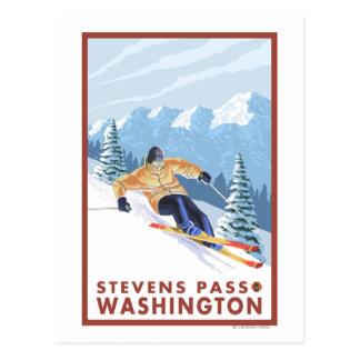 Downhhill Schnee-Skifahrer - Stevens-Durchlauf, Postkarte