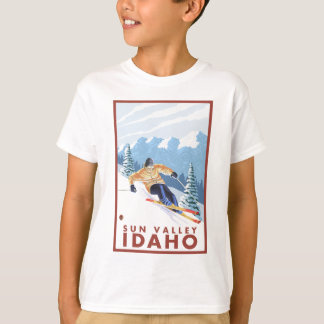 Downhhill Schnee-Skifahrer - Sun Valley, Idaho T-Shirt