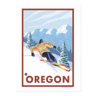 Downhhill Schnee Skifahrer Vintages Reise-Plakat 2 Postkarte