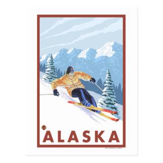 Downhhill Schnee Skifahrer Vintages Reise-Plakat Postkarte