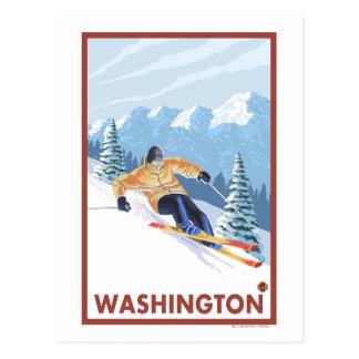 Downhhill Schnee-Skifahrer - Washington Postkarte