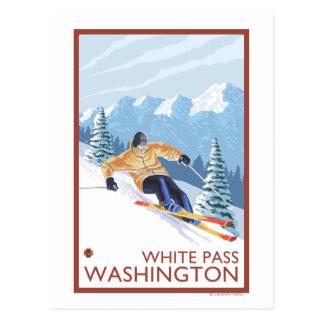 Downhhill Schnee-Skifahrer - weißer Durchlauf, Postkarte