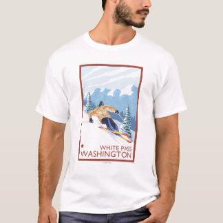 Downhhill Schnee-Skifahrer - weißer Durchlauf, T-Shirt
