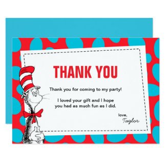 Dr. Seuss | die Katze im Hut-Geburtstag danken 8,9 X 12,7 Cm Einladungskarte