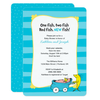Dr. Seuss | ein Fisch - Jungen-Babyparty 12,7 X 17,8 Cm Einladungskarte