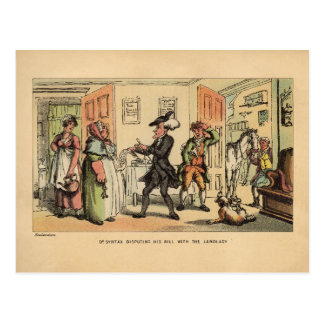 Dr. Syntax, die seine Rechnung mit der Hauswirtin Postkarte