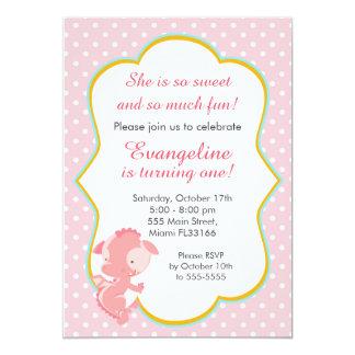 Drache-rosa Pfirsich-Mädchen-Geburtstags-Party 12,7 X 17,8 Cm Einladungskarte