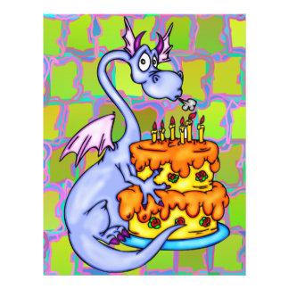 Drache und Geburtstags-Kuchen Flyer