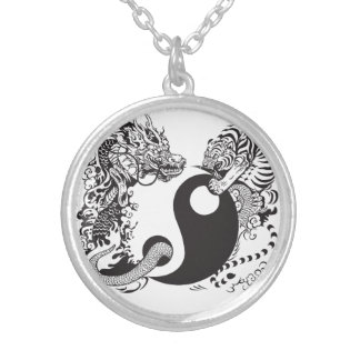 Drache und Tiger yin Yang-Symbol Versilberte Kette