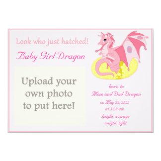 Drachehatchlings-Geburts-Mitteilung für Mädchen 12,7 X 17,8 Cm Einladungskarte
