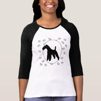 Draht-Foxterrier Herzen und Pawprints T-Shirt