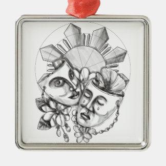 Drama-Masken-Hibiskus Sampaguita Blume Silbernes Ornament