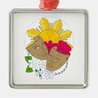 Drama-Maskephilippinischer Sun-Hibiskus Sampaguita Silbernes Ornament