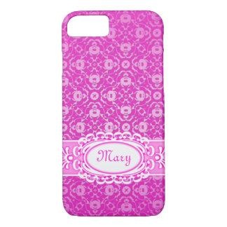Drastischer rosa pinkfarbener Damast prägeartiger iPhone 8/7 Hülle