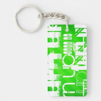 Drehung oben; Grüne Neonstreifen Beidseitiger Rechteckiger Acryl Schlüsselanhänger