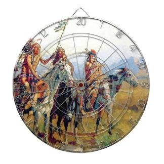 drei angebrachter amerikanischer Ureinwohner Dartscheibe