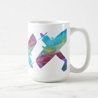 Drei Colorwashed Doppeldecker Tasse
