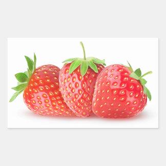 Drei Erdbeeren Rechteckiger Aufkleber