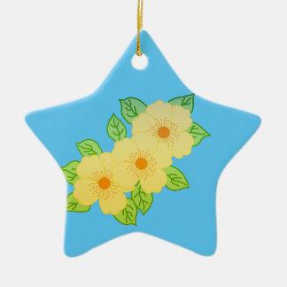 drei gelbe Blumen Keramik Ornament