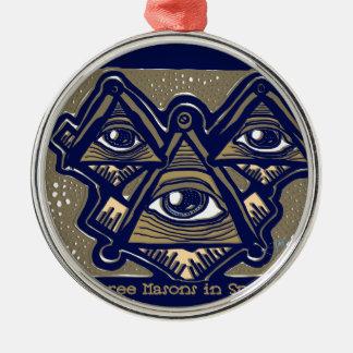 Drei Maurer im Raum durch ParanormalPrints Rundes Silberfarbenes Ornament