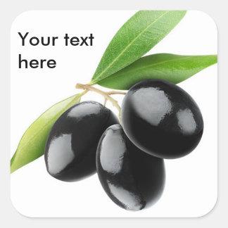 Drei schwarze Oliven Quadratischer Aufkleber
