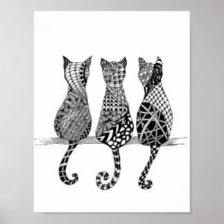 Drei Schwarzweiss-Katzen-Druck Poster