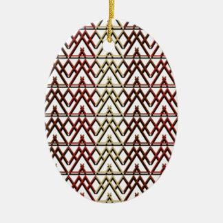 Dreieck-Azteke-Muster Ovales Keramik Ornament