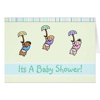 Dreifache Regenschirm-Babyparty-Einladungs-Karte Karte