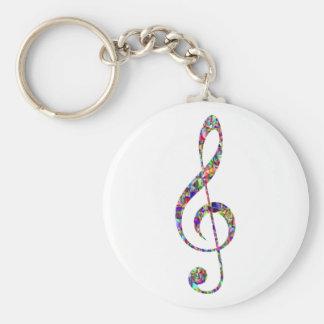 Dreifacher Clef, Mehrfarben, Musik Standard Runder Schlüsselanhänger
